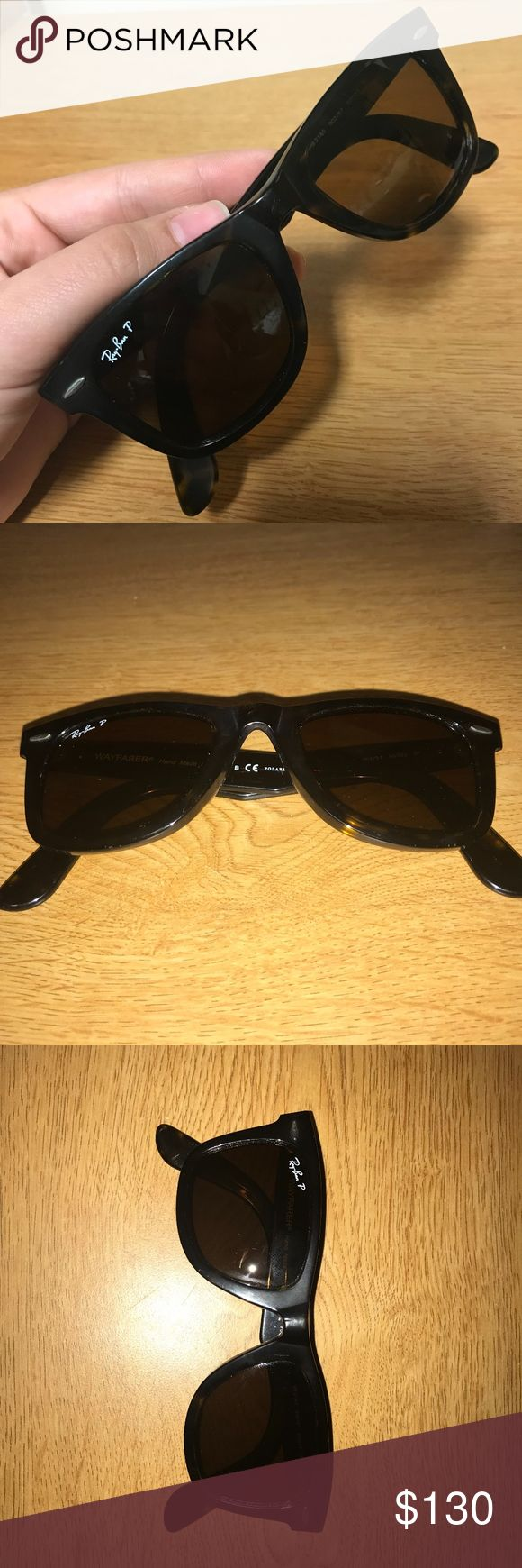 Ray-Ban Original Wayfarer Classic Polarized These polarized tortoise sunglasses have been worn a few times with minimal scratches. Lenses look 100% clear when wearing them. They have the original classic tilted look. Ray-Ban Accessories Sunglasses