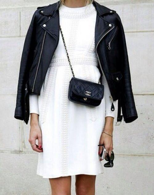 white dress leather jacket