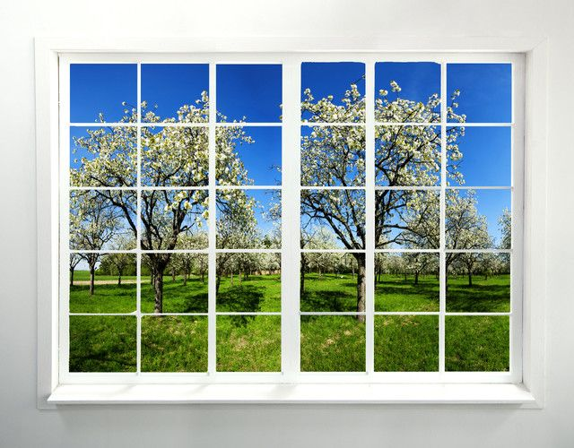 """From Houzz... an orchard wall mural 36x48""""...  in a window frame? https://www.houzz.com/product/58882944-orchard-window-peel-and-stick-wall-mural-farmhouse-wall-decals"""