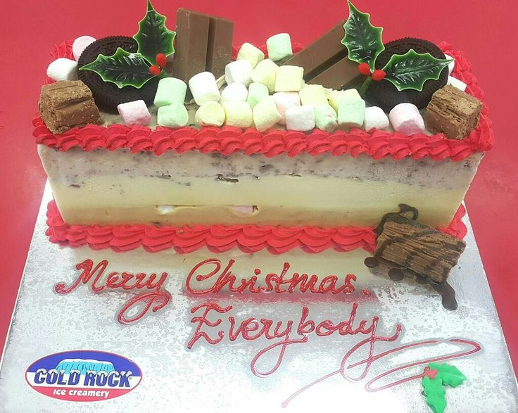 ice cream Christmas log cake