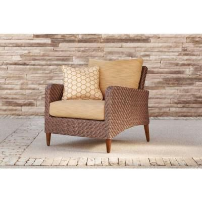 Beau Brown Jordan Marquis Patio Lounge Chair In Toffee With Tessa Barley Throw  Pillow    STOCK