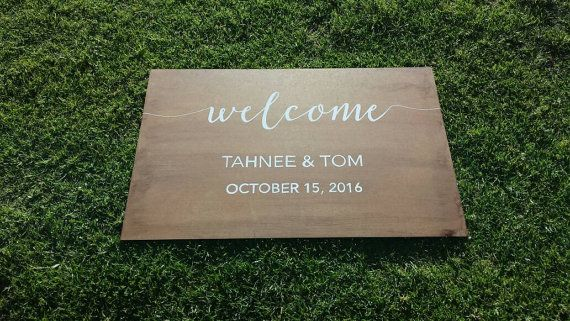 Hey, I found this really awesome Etsy listing at https://www.etsy.com/au/listing/469939014/personalised-wooden-wedding-sign-welcome