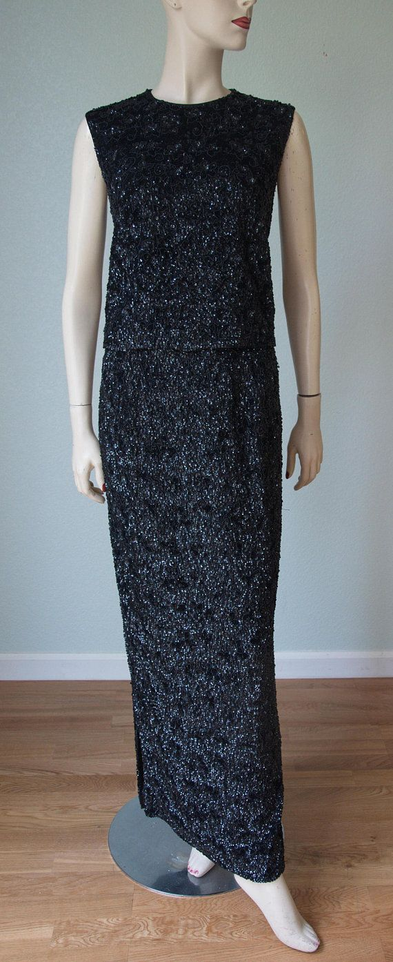 1950s Couture Beaded Sequined 2 Piece Formal Lord And Taylor