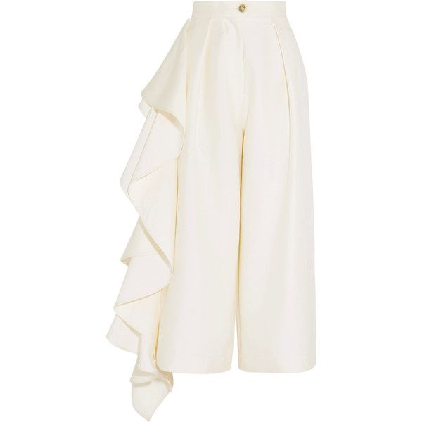 Solace London Ruffled crepe culottes ($325) ❤ liked on Polyvore featuring pants, capris, bottoms, trousers, cream, tailored pants, white trousers, wide leg pants, button pants and white pants
