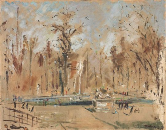 Filippo de Pisis (Italian, 1896-1956) - View of Parisian Park, 1937-1938