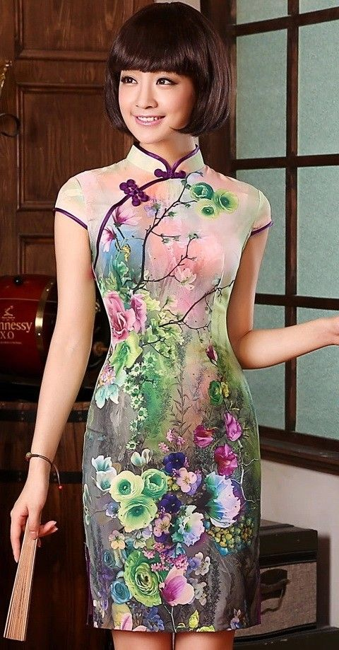 Modern Pure Silk Qipao Day Dress with Colorful Flowers Print - iDreamMart.com