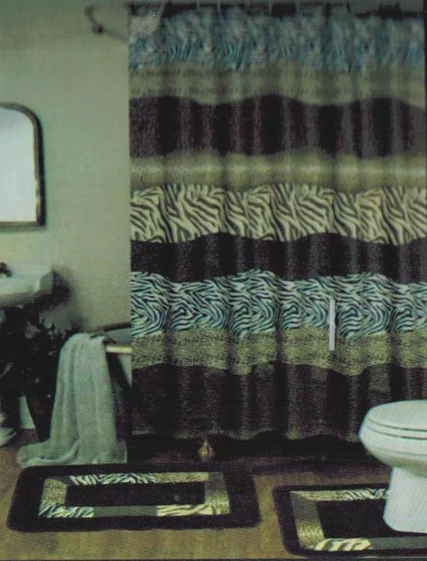 15PC BROWN SAFARI ZEBRA LEOPARD BATHROOM BATH MATS SET RUG SHOWER CURTAIN HOOKS in Home & Garden, Home & Garden | eBay