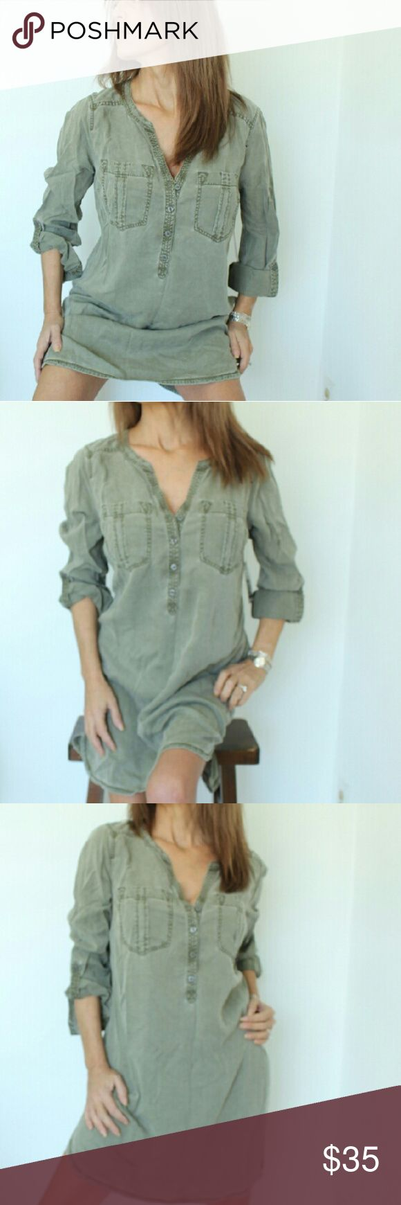 NWT Express khaki shirt dress Super cute shirt dress. NWT. Khaki green with button front.Cuff sleeves and a rounded hemline. NWT Express Dresses Mini
