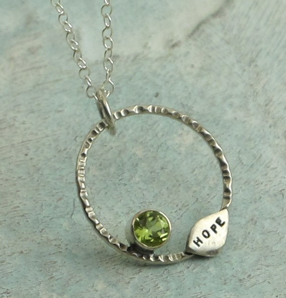 Hope Necklace  sterling silver and peridot by by KathrynRiechert
