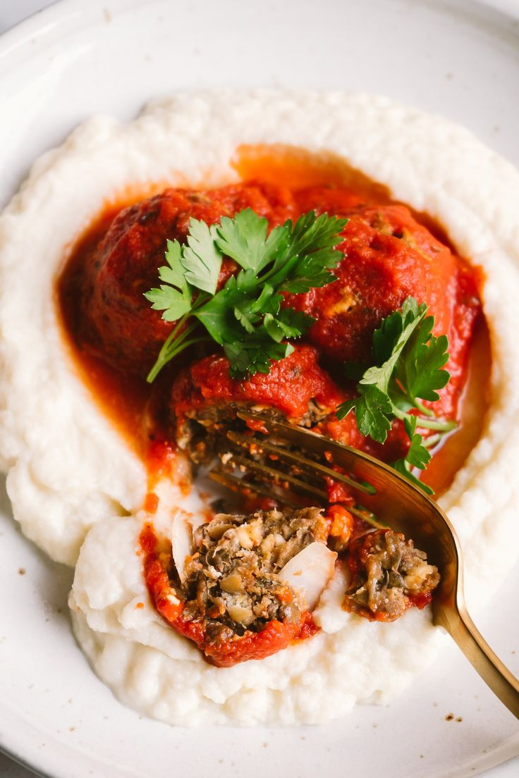 "Lentil ""Meat"" Balls w/ Easy Marinara + Mashed Cauliflower 