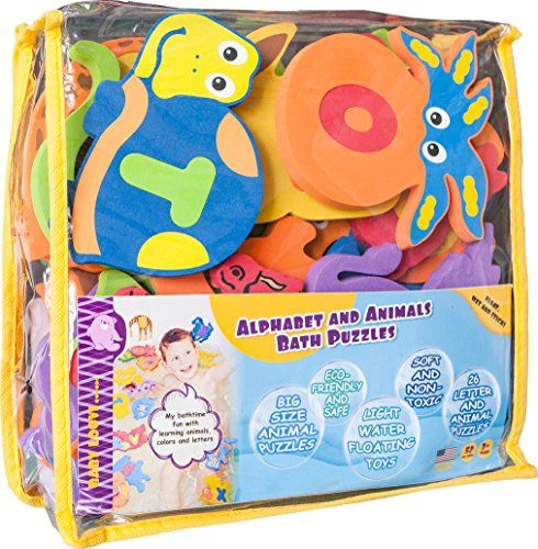 Educational Bath Toys for Toddlers-One of the Biggest Foam Baby BathTub Toys - Foam Alphabet Letters and Animals(26 Puzzles-52 items)-Safe and Colorful Premium ABC Foam Letters for Kids. For price & product info go to: https://all4babies.co.business/educational-bath-toys-for-toddlers-one-of-the-biggest-foam-baby-bathtub-toys-foam-alphabet-letters-and-animals26-puzzles-52-items-safe-and-colorful-premium-abc-foam-letters-for-kids/