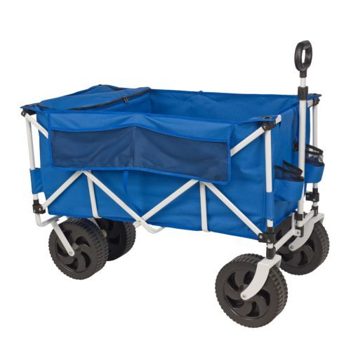 The Academy Sports + Outdoors™ All-Terrain Folding Cart with Cooler features a powder-coat steel frame and a sewn-in, insulated cooler.