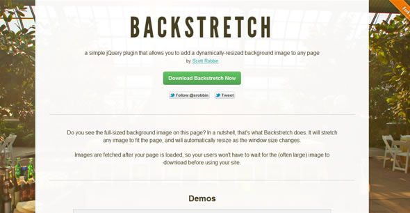 Backstretch – Add a dynamically-resized background image to any page