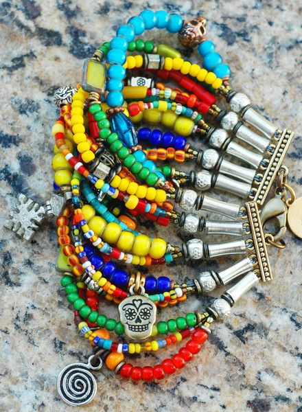 Colorful Boho Mexican-Inspired Skull Mixed-Media Cuff Bracelet   XO Gallery