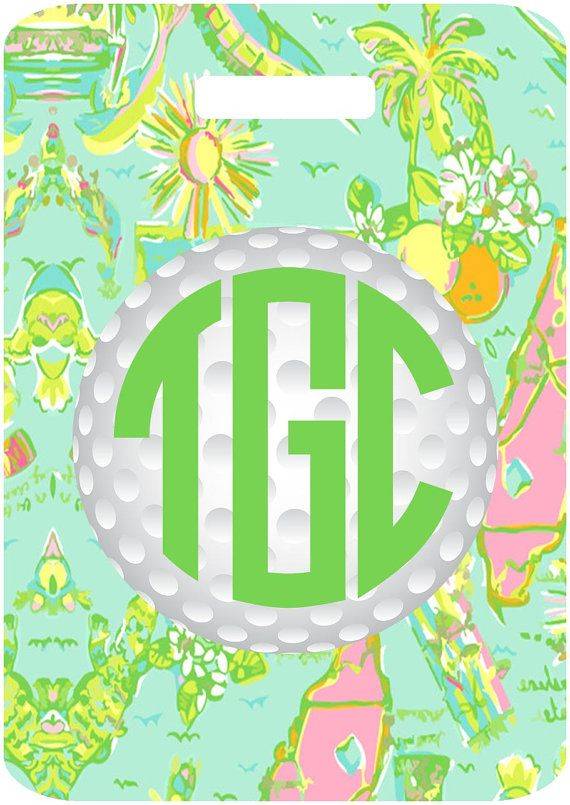 Lilly Florida Golf Bag Tag. Personalized Lilly gift for the Golfer! Great Bachelorette, Girl's weekend and Bridesmaids presents too! #golf #lilly #florida #monogrammed