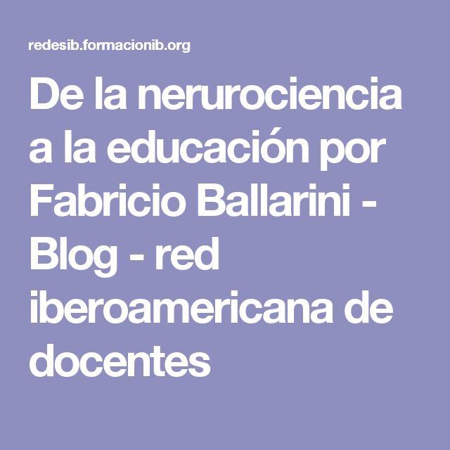 De la nerurociencia a la educación por Fabricio Ballarini - Blog - red iberoamericana de docentes
