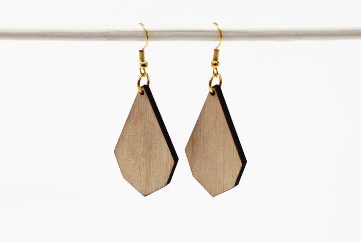 Diamanten Ohrringe, HOLZ klein von melamei auf DaWanda.com