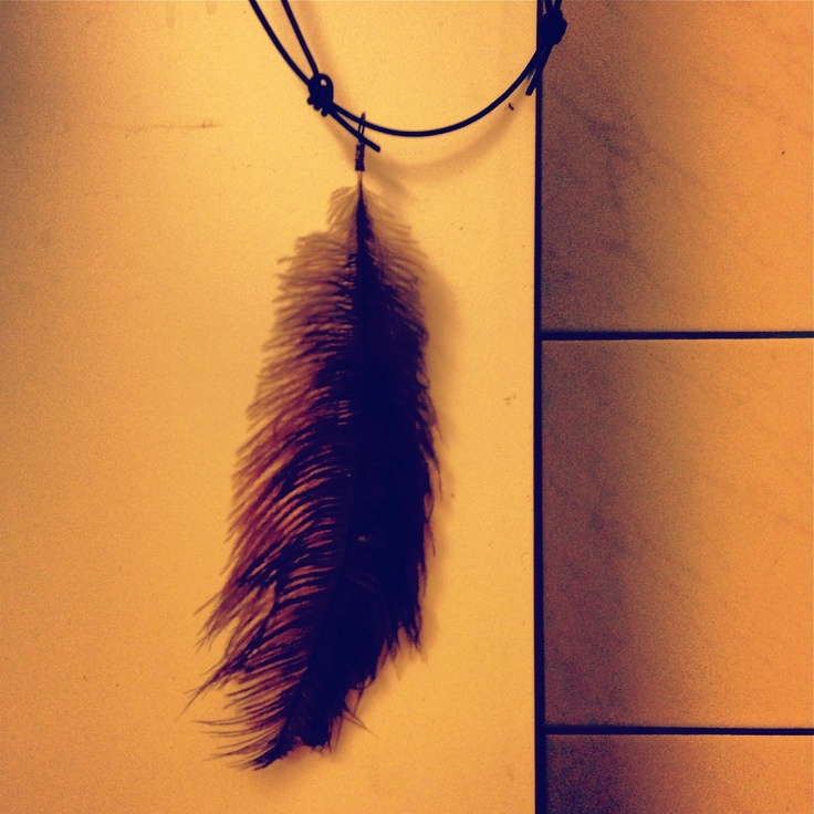 """UNABLE TO FLY"" leather, silver, ostrich feather"