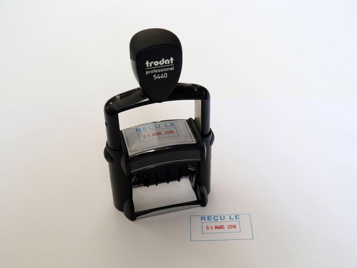 Tampon dateur Trodat Professionel avec date bicolore pour marquer les courriers reçus