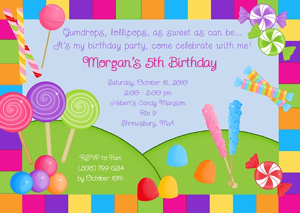 Candy Land Birthday Party Invitations Personalized-candy,land,birthday,personalized,party,  invitations,invitation,candy land birthday party invitations