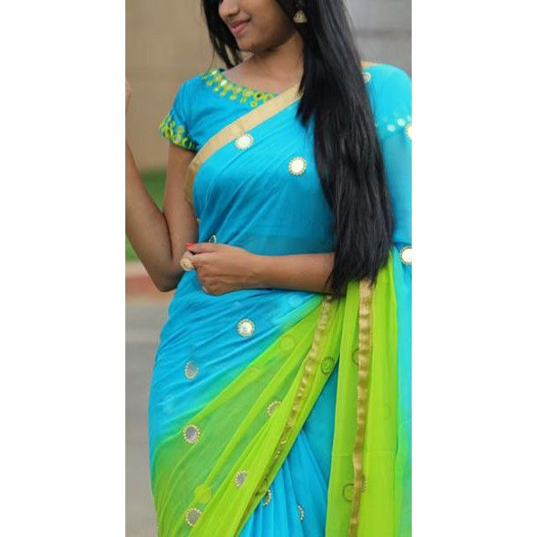 Beautiful blue -green saree with glass work