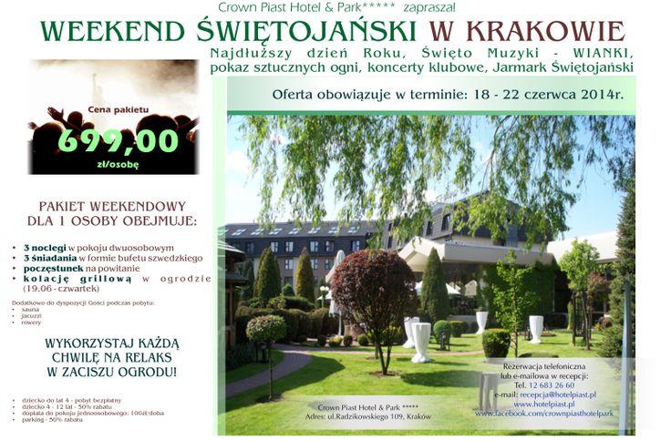 Weekend Świętojański w Krakowie. Zapraszamy do rezerwacji miejsc! #cracow #krakow #crownpiasthotelpark #midsummer #wianki #poland #kraków Kontakt: recepcja@hotelpiast.pl www.facebook.com/crownpiasthotelpark www.hotelpiast.pl