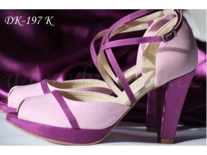 Saténové svatební boty - fialové