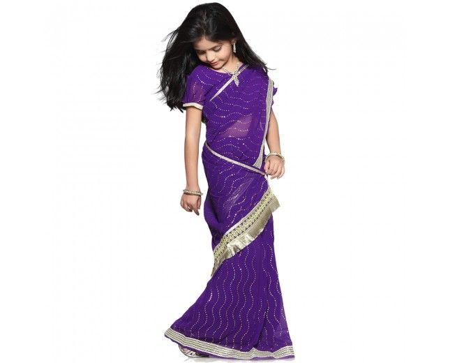 Violet Chiffon Ready made Kids Saree