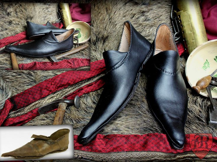 Leather, medieval shoes made by Pracownia REKO. Shoes 15th century