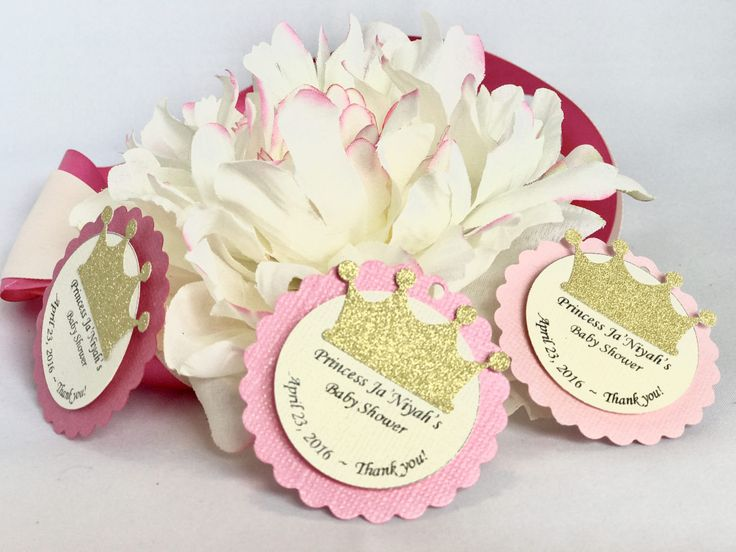 Princess or prince themed baby shower tags with gold crown for party favors or cupcake toppers by ThreeCDesignStudio on Etsy