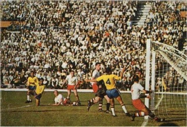 Brazil 3 Czechoslovakia 1 in 1962 in Santiago. The ball hits the ...