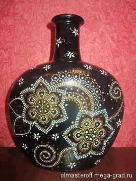 Декоративная бутылка - дизайнерская ваза/бутыль для интерьера. МегаГрад - главный ресурс мастеров и художников