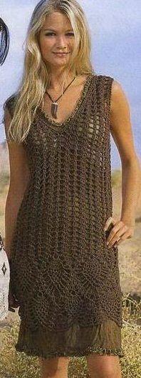 Crochet brown dress ♥️LCD-MRS♥️with diagrams. ---- Ажурное платье схема