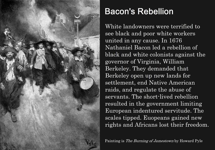 Bacon's Rebellion White landowners were terrified to see ...