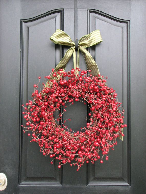 Christmas Berry Wreath, Red Berry Wreaths, Christmas Red, Holiday Wreaths, Holiday Decor, Winter Wreaths. $75.00, via Etsy.