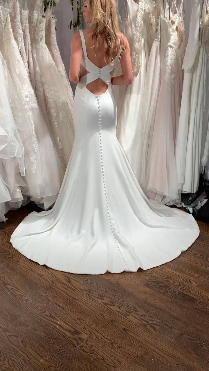 Modern Crepe Mermaid With Deep Sweetheart And Keyhole Back Moonlight Tango T881 Form Fitting Wedding Dress Satin Mermaid Wedding Dress Mermaid Wedding Dress [ 1280 x 720 Pixel ]