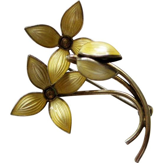 Vintage Sterling Enamel Norway Ivar Holt Flowers Brooch Pin Yellow from quick-red-fox on Ruby Lane