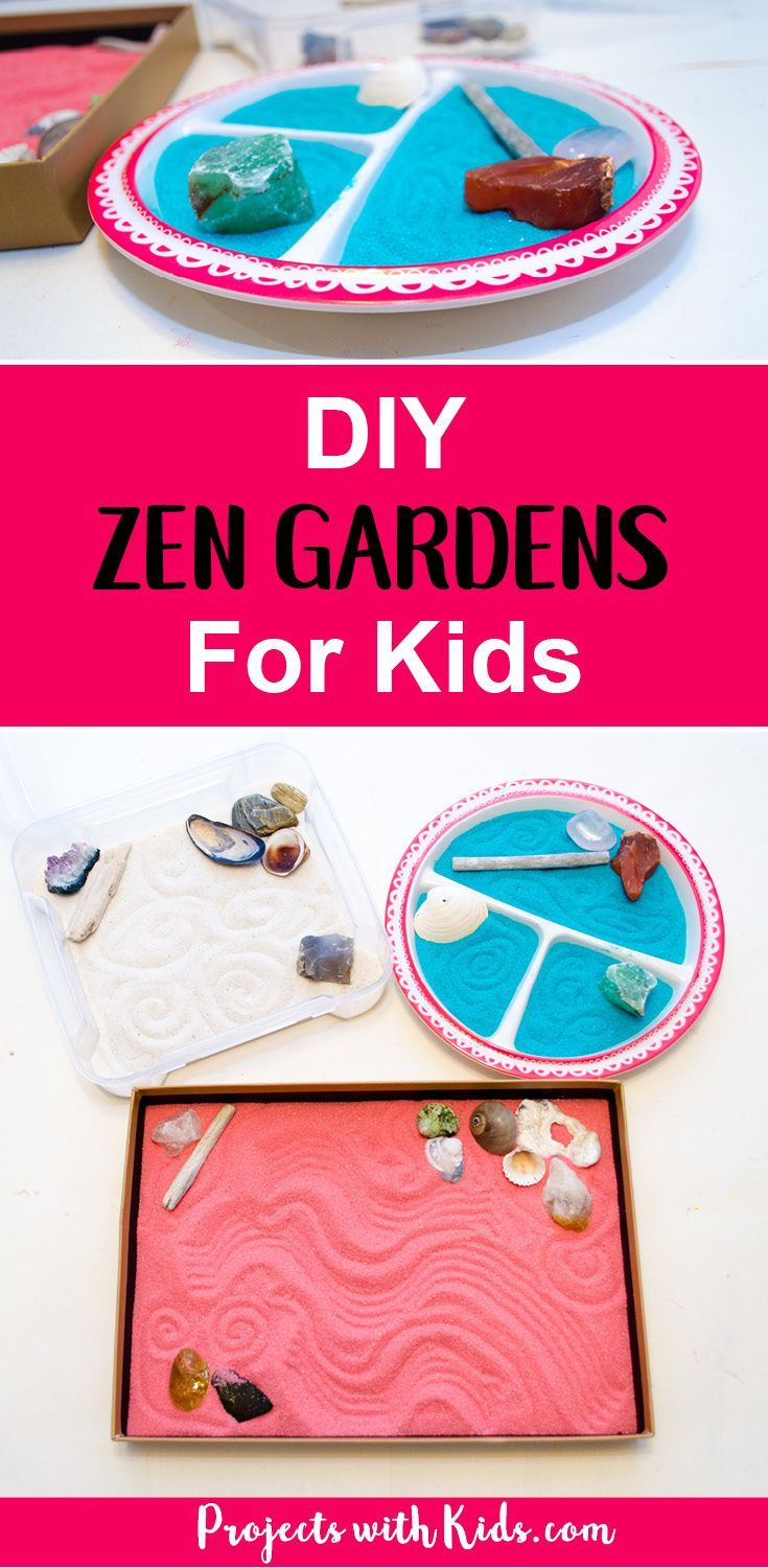 These zen gardens for kids are so easy and fun to make! This is a great calming sensory activity for kids that you can customize with different colors and accessories. They would make really great handmade gifts as well! #zengardens #handmadegifts