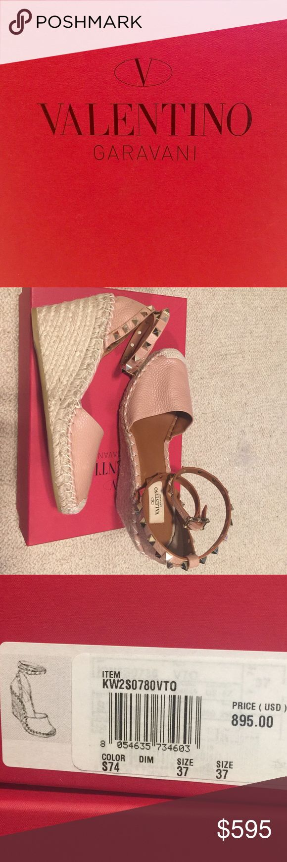 Valentino Rockstud Espadrille Wedge $595 (org$895) Beautiful Valentino wedges. Never warn. Color-nude, heel height is 3 inches. New with original box. Valentino Shoes Wedges