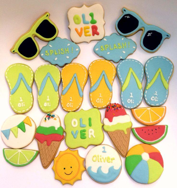 Summer Splish-Splash themed cookies, made with ❤️for Oliver's 1st Birthday Splash!