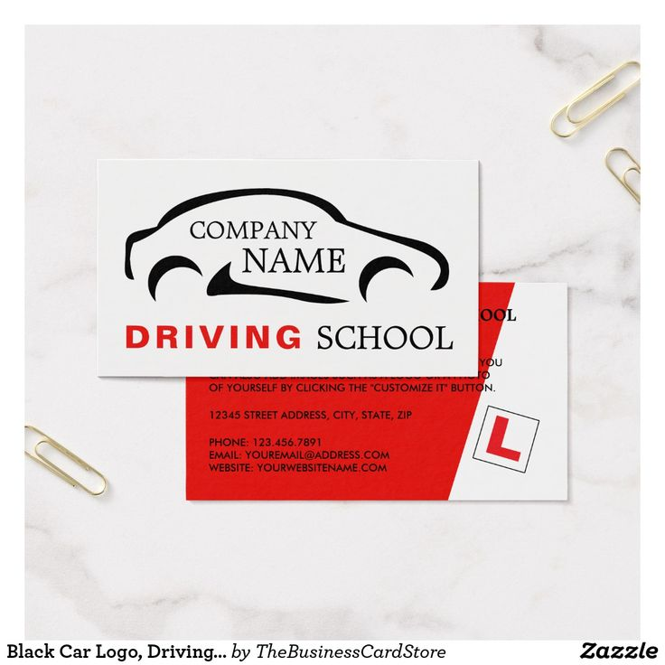 Black Car Logo, Driving Instructor Business Card