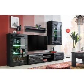 Ensemble meuble murale Timber Black 3D Référence  AMC-003  État :  Nouveau  Un fantastique ensemble de salon meuble murale, de couleur noir pour votre salon