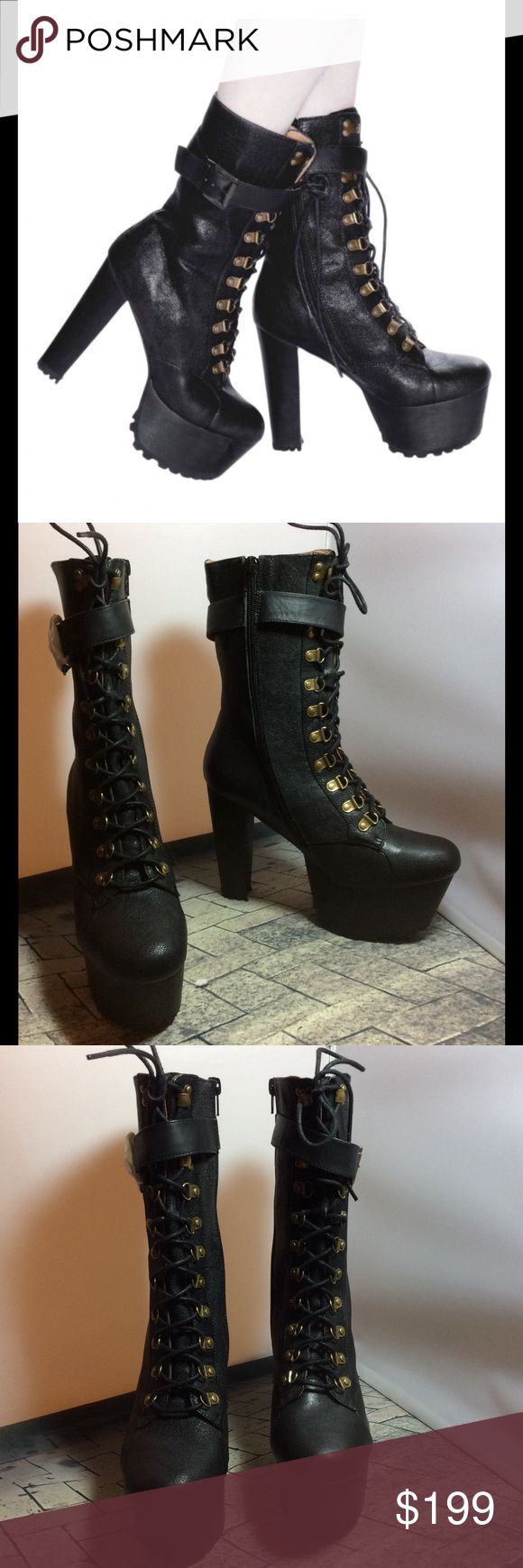 """NWOT Jeffrey Campbell - Sgt Pepper Blk Bootie 8.5 NWOT $270 Jeffrey Campbell X Wildfox - Sergeant Pepper Black Leather Bootie 8.5  WILDFOX and JC...so you know it's amazing. SGT. PEPPER is military meets major 5 1/2"""" heel and 2"""" platform. Leather upper, lining and man made sole. RUN A FULL SIZE SMALL so best for a size 7-1/2 though marked 8-1/2.Zip and lace up  The heel height: 5"""" w/2"""" platform. Leather upper is 7-1/2 high from heel to boot top Leather lining/rubber sole. Genuine Leather…"""