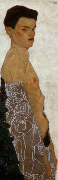 Egon Schiele-auto-portrait dans des draps