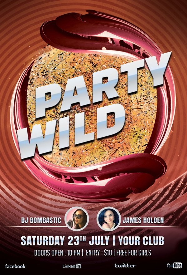 Party Wild Flyer Template by styleWish , via Behance