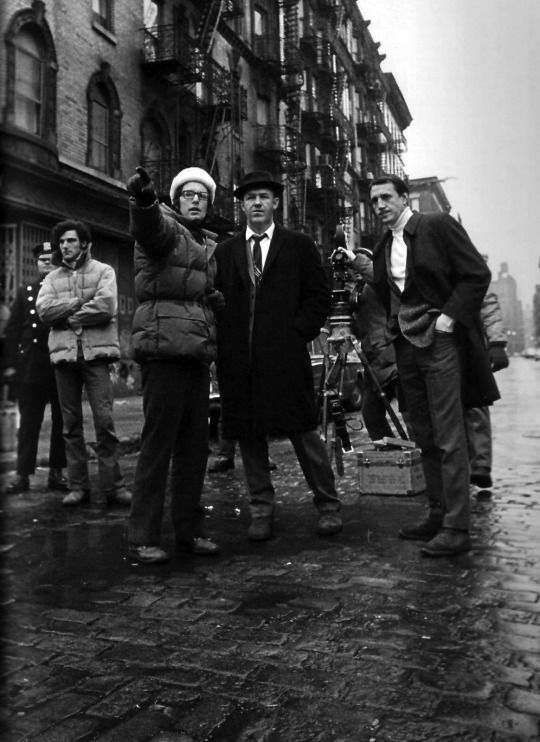 William Friedkin, Gene Hackman, and Roy Scheider on set of the french connection, 1971.