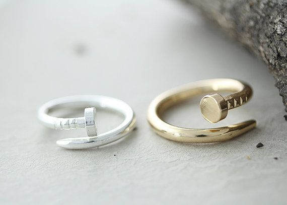 Nail Ring Unique Simple Ring Jewelry Gold Silver par authfashion, $10.00
