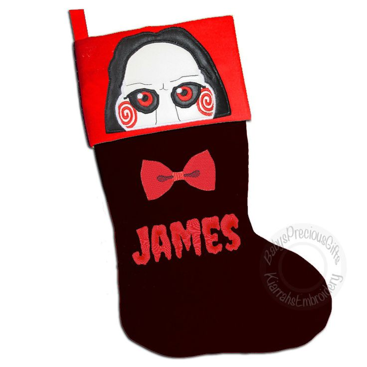 Saw, Puppet, Jigsaw, Billy The Puppet, Personalised, Christmas Stocking, Personalised Stocking, Mens Christmas, stocking, Movie Merch, Geeky - pinned by pin4etsy.com