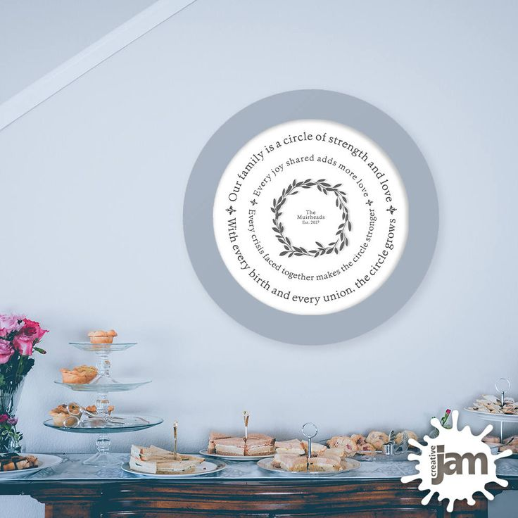"Our Family Is a Circle / Personalized 16"" x 16"" Printable / Home Decor / Family Values / Leaf Wreath by CreativeJamPress on Etsy"
