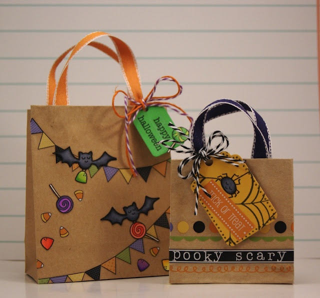 Yainea created these super cute halloween bags using Lawn Fawn stamps and SRM's Halloween border stickers.  Spookalicious!